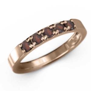 指輪 10金ピンクゴールド 5ストーン ガーネット 1月誕生石|skybell