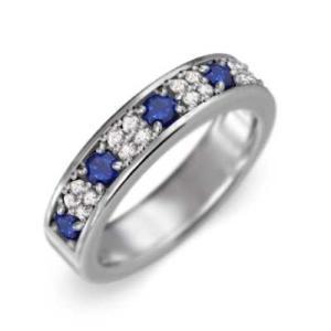サファイア(青) 天然ダイヤモンド 指輪 Pt900 9月の誕生石|skybell