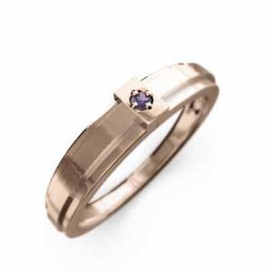 指輪 一粒 十字架 アメジスト 2月誕生石 k10ピンクゴールド|skybell