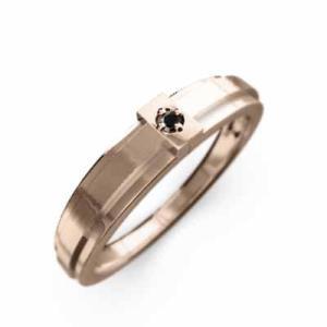 クロス 1粒石 リング ブラックダイヤモンド(黒ダイヤ) 10kピンクゴールド|skybell