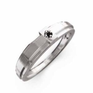 リング 一粒石 クロス ブラックダイヤ 4月誕生石 k10ホワイトゴールド|skybell