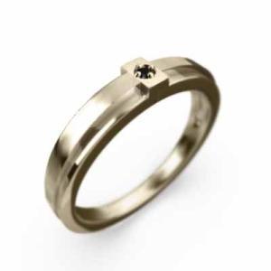クロス 1粒石 リング ブラックダイヤモンド(黒ダイヤ) 10kイエローゴールド|skybell