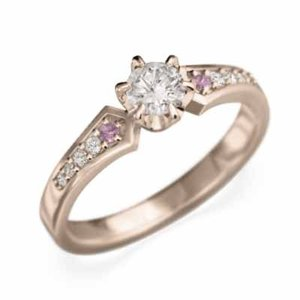 婚約指輪 18金ピンクゴールド ピンクサファイヤ 天然ダイヤモンド 10月誕生石 skybell