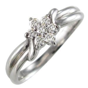 ダイヤモンド/指輪/ジュエリーフラワー/k18ホワイトゴールド/4月誕生石 skybell