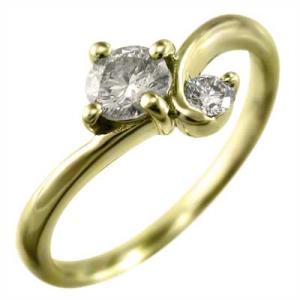 天然ダイヤモンド 指輪 18金イエローゴールド 4月誕生石 skybell