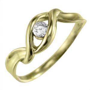 指輪 一粒 ダイアモンド k18イエローゴールド 4月誕生石 skybell