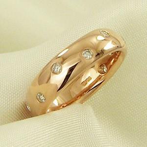 甲丸リング ダイヤモンド 4月誕生石 k10ピンクゴールド|skybell