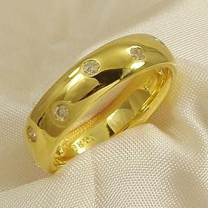 甲丸リング ダイアモンド 4月誕生石 k10イエローゴールド|skybell