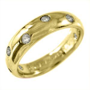 イエローゴールドk18 甲丸 指輪 天然ダイヤ 4月誕生石|skybell