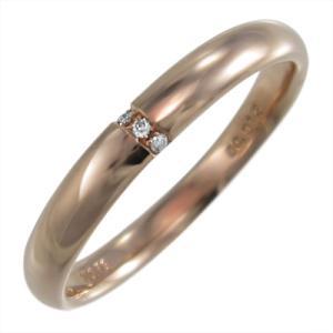 k18ピンクゴールド 丸系 リング 甲丸 天然ダイヤモンド 4月誕生石 約3mm幅|skybell