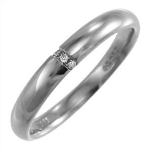 ホワイトゴールドk18 甲丸 指輪 天然ダイヤモンド 4月誕生石 約3mm幅|skybell