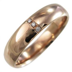 甲丸 タイプ リング ダイヤモンド k10ピンクゴールド 4月誕生石 約5mm幅|skybell