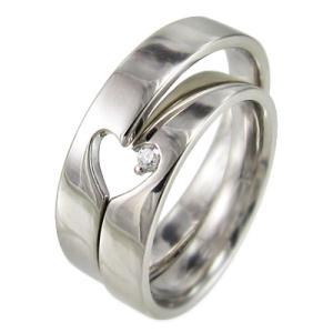 レディスメンズリング/平打ちの指輪/一粒石/ハートマーク/ダイヤモンド/4月誕生石/プラチナ900/2つでハートが現れます|skybell