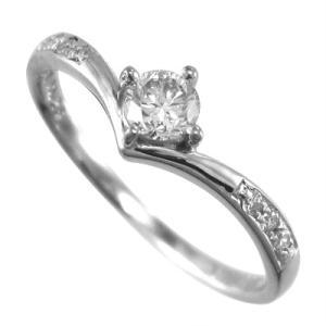 18kホワイトゴールド リング 婚約指輪 天然ダイヤ 4月誕生石|skybell