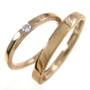 18kピンクゴールド ペアの指輪 平たいリング 一粒 ダイヤモンド 4月誕生石|skybell