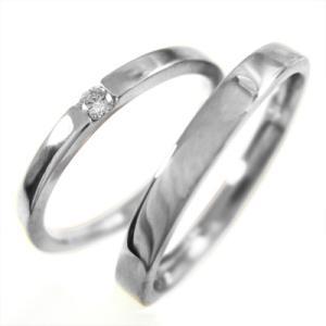 天然ダイヤモンド・ペアの指輪・平らな指輪・一粒・18kホワイトゴールド・4月誕生石|skybell
