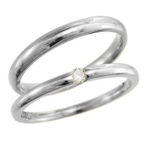 18kホワイトゴールド ペアの指輪 婚約ブライダルにも 一粒 天然ダイヤ 4月誕生石|skybell