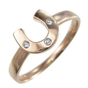 k18ピンクゴールド 馬蹄タイプ 指輪 3石 天然ダイヤモンド skybell