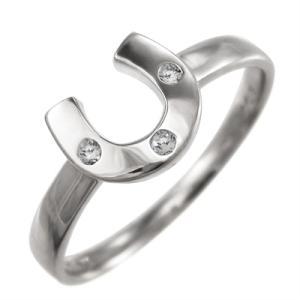 ダイヤモンド 指輪 ラッキーアイテム馬蹄 3石 プラチナ900 4月誕生石 skybell