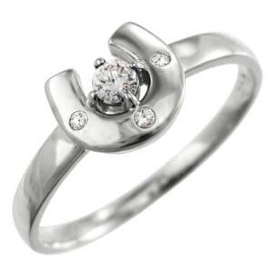 指輪 馬蹄デザイン ダイアモンド ホワイトゴールドk18 4月誕生石 skybell