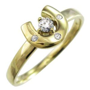 リング 馬蹄型 ダイアモンド k18イエローゴールド 4月誕生石 skybell