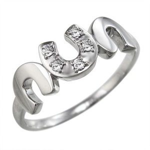 天然ダイヤモンド リング 馬蹄型 ファイブストーン 4月誕生石 k18ホワイトゴールド|skybell