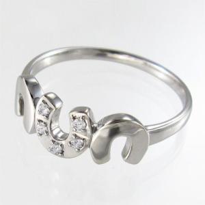 天然ダイヤモンド リング 馬蹄型 ファイブストーン 4月誕生石 k18ホワイトゴールド|skybell|03