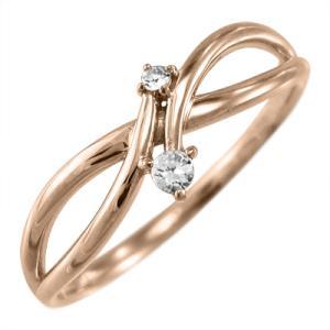 指輪 天然ダイヤ 18金ピンクゴールド skybell