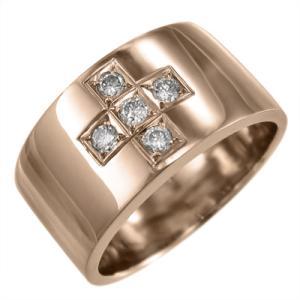 天然ダイヤモンド 平打ちの 指輪 オーダーメイド ブライダル にも クロス デザイン 5ストーン k10ピンクゴールド 4月誕生石 skybell