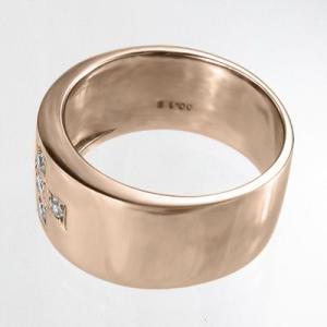 天然ダイヤモンド 平打ちの 指輪 オーダーメイド ブライダル にも クロス デザイン 5ストーン k10ピンクゴールド 4月誕生石 skybell 05