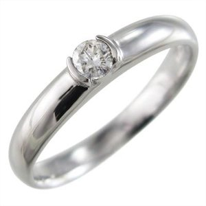指輪 ブライダルリング にも 1粒 石 ダイアモンド 10金ホワイトゴールド skybell