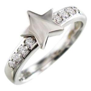 ダイヤモンド リング スター ジュエリー 18kホワイトゴールド 4月誕生石|skybell