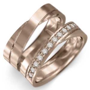 レディスメンズリング 平打ち指輪 ピンクゴールドk18 ダイアモンド 4月誕生石|skybell