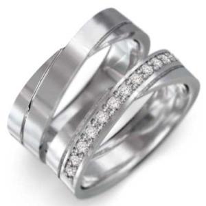 ダイヤモンド レディスメンズリング 平打ちの指輪 k18ホワイトゴールド 4月誕生石|skybell