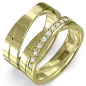 レディスメンズリング 平打ち指輪 18金イエローゴールド ダイヤモンド 4月誕生石|skybell