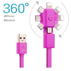 iPhone・Android 360度回転式 2WAY 急速充電USBケーブル ライトニングアダプタ Type B|skybird
