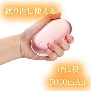 ハンドウォーマー 温度調節 USBカイロ USB充電式 1台2役 軽量 5000mAh 両面発熱 3...