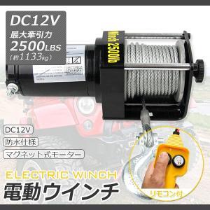 電動ウインチ12V 最大牽引力2500LBS(1133kg) 強力ハイパワーDC12V