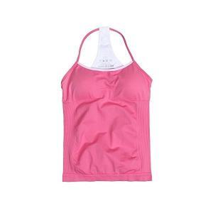 ハナノ ヨガウェア ブラトップ タンクトップ カップ付き ブラウス キャミソール 3色 ストラップ 伸縮 速乾 フィットネス (L, ピンク)|skygarden