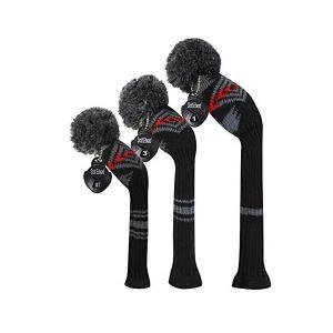 黒い 灰 赤ニットゴルフヘッドカバーセット、ドライバー、フェアウェイウッドとハイブリッドUT|skygarden