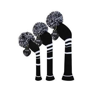 黒い色は白のストライプニットゴルフヘッドカバーセット、ドライバー、フェアウェイウッドとハイブリッドUT|skygarden