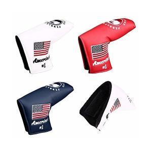 パターカバー ヘッドカバー スコッティーキャメロン オデッセイに適合 マジックテープ開閉式 アメリカ刺繍 ピンタイプ (赤)|skygarden