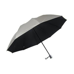 男性用の日傘 UV99% カット 2段式折りたたみ 大きいサイズ 丈夫な10本骨 表シルバー (黒) skygarden