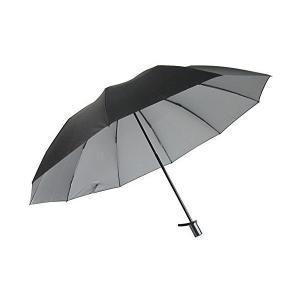 男性用の晴雨兼用日傘 UV99% カット 2段式折りたたみ 大きいサイズ 丈夫な10本骨 裏シルバー (黒) skygarden