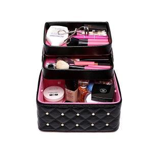 FYX メイクボックス コスメボックス 大容量 化粧品収納ボックス 収納ケース 小物入れ 大容量 取っ手付 (ブラック)|skygarden
