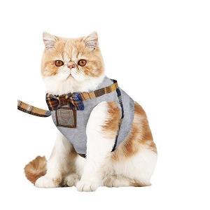 【Tona】猫ハーネス 犬ハーネス 猫 ベスト 胸あて式 牽引ロープ ハーネス リード セット 首輪...