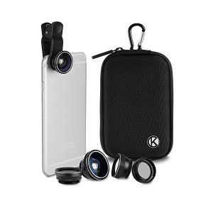 デラックスユニバーサル5 イン 1 カメラレンズキット、スマートフォン、タブレット、ラップトップ用  高品質のEVAフォームインテリアとカラビナ|skygarden