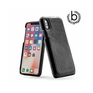 【bugatti】最高級 本革 牛革 フルグレイン レザー iPhone X ケース ブラック ブガッティ