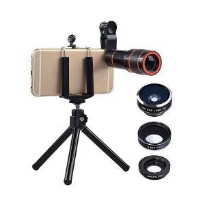 正規品クリップ式スマホ用望遠カメラレンズ 4点セット(高品質HDスマホ望遠レンズ 198度魚眼 0.63X広角 15Xマクロ) 三脚ホルダー付き コ|skygarden
