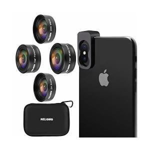 NELOMO スマホカメラ用4イン1レンズキット。適合機種:iphone XR X 8 7, Samsung Galzxy S9 S8, Huawe skygarden